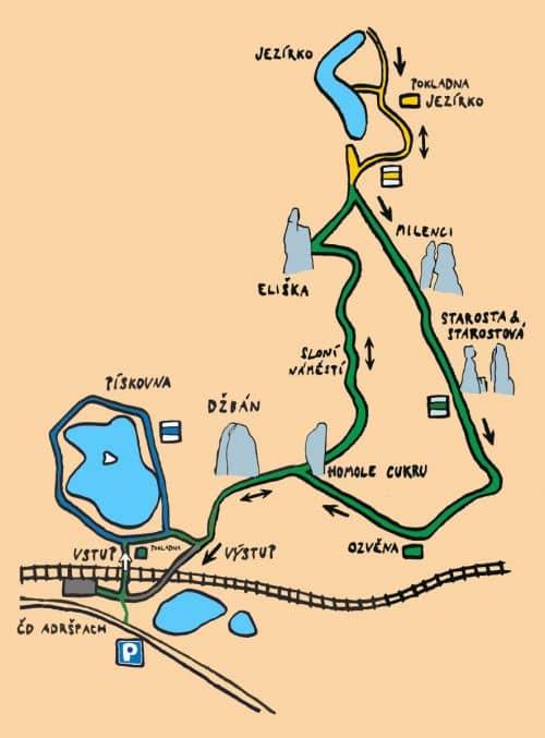 Схема, Адршпарские скалы, Чехия