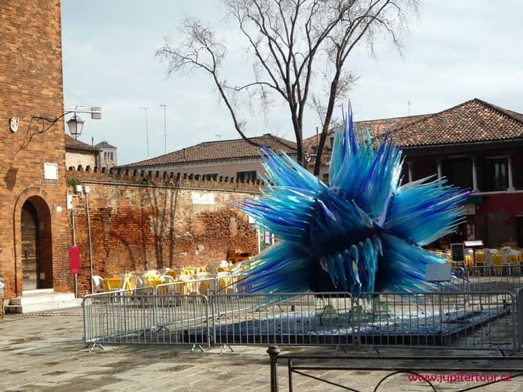 Стекольная голубая скульптура, Мурано, Венеция, Италия